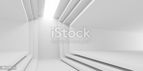 951228698 istock photo Abstract of white architectural space,Concept of minimal futuristic interior style.3D rendering 951228714