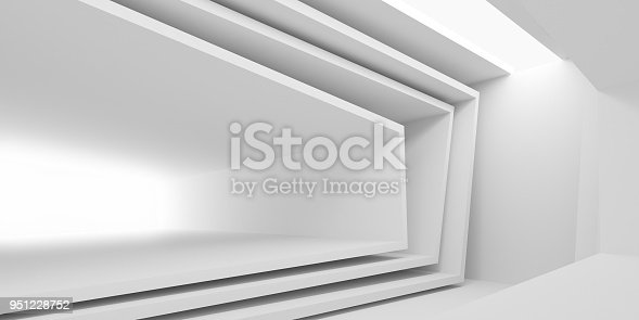 951228698 istock photo Abstract of white architectural space,Concept of minimal futuristic interior style.3D rendering 951228752