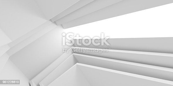 951228698 istock photo Abstract of white architectural space,Concept of minimal futuristic interior style.3D rendering 951228810