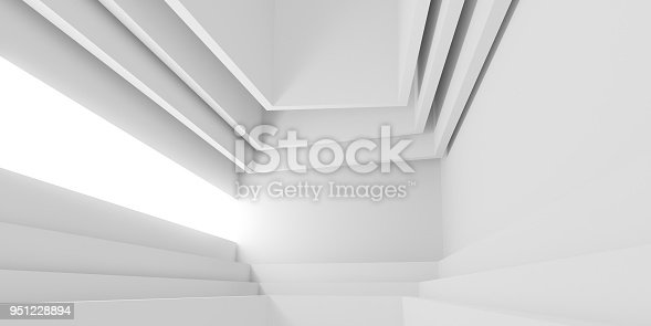 istock Abstract of white architectural space,Concept of minimal futuristic interior style.3D rendering 951228894