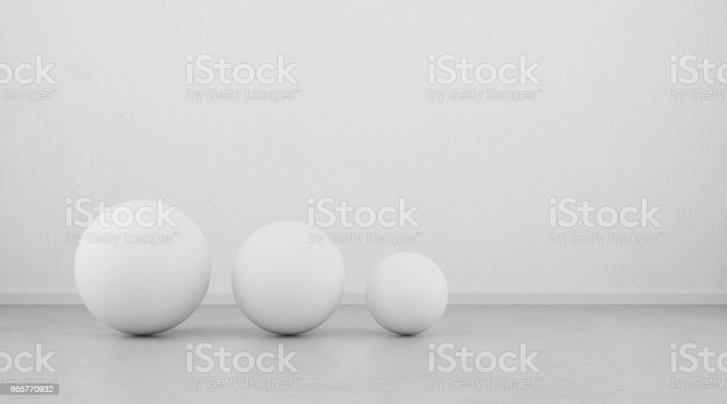 Abstract of white geometric sphere balls are on clean concrete floor...