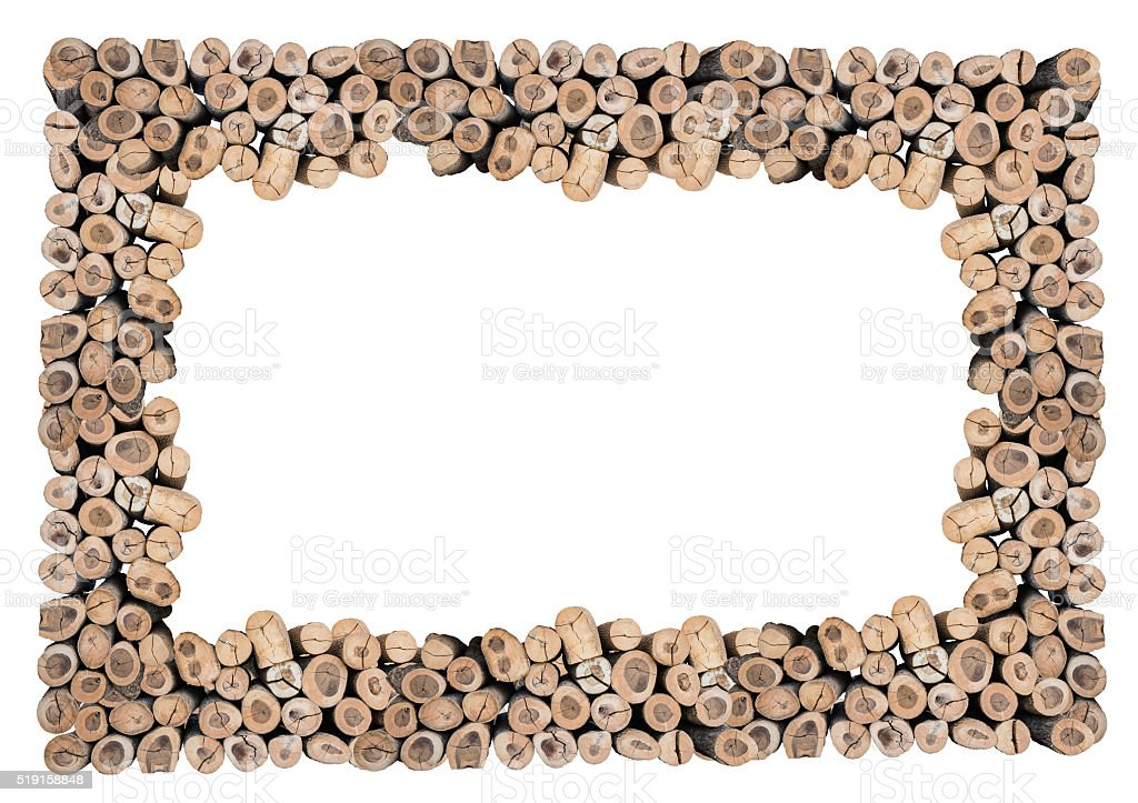 Abstract Of Wood Log Frame Isolated With Clipping Path Stock Photo ...