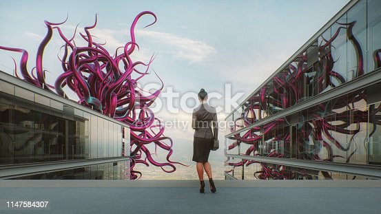 Abstract office businesswoman with alien tentacles. This is entirely 3D generated image.