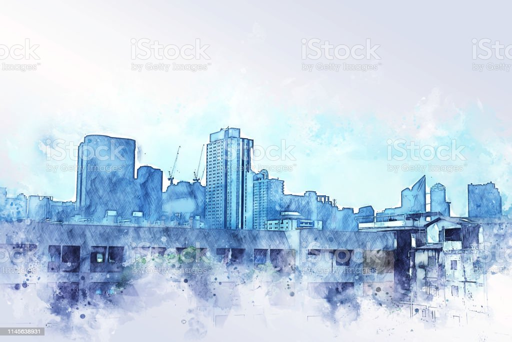 Abstract offices Building in the city on watercolor painting...