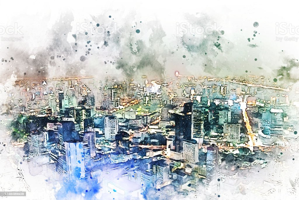 abstract colorful shape cityscape on watercolor illustration painting...