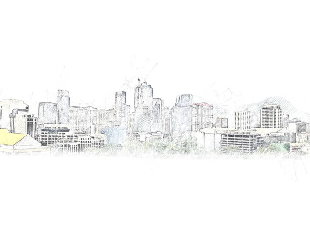 Abstract offices building on watercolor painting background. City on Digital illustration brush to art. stock photo