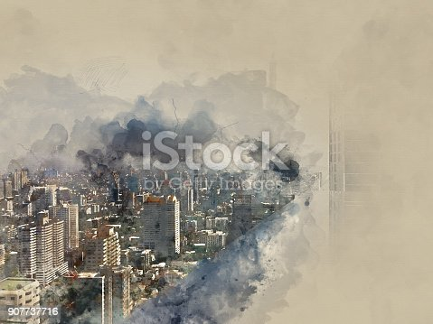 istock Abstract offices building on watercolor painting background. City on Digital illustration brush to art. 907737716