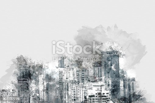 istock Abstract offices building on watercolor painting background. City on Digital illustration brush to art. 907737776