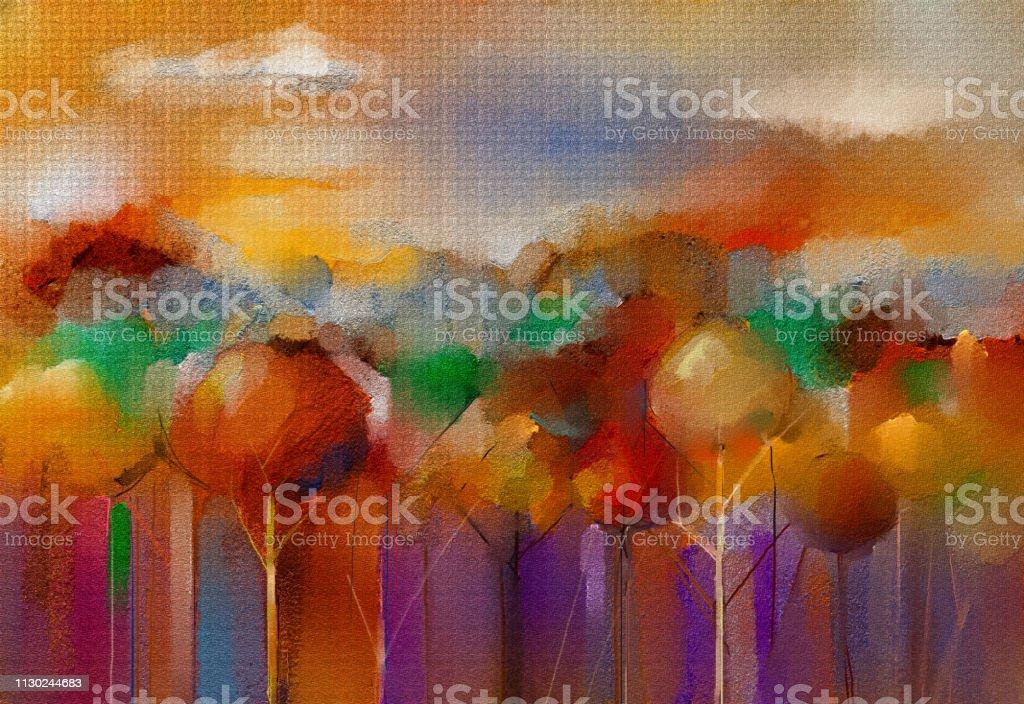 Welp Abstracte Olie Acryl Schilderij Buiten Landschap Semiabstracte HT-79