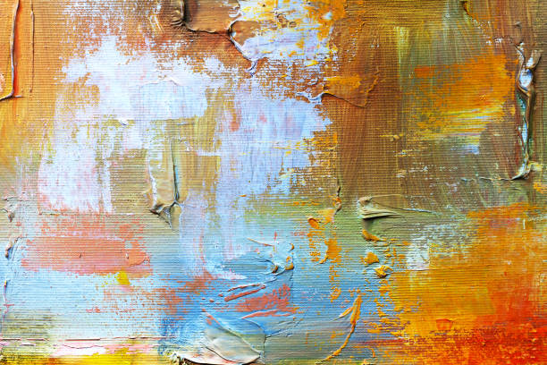 abstract oil paint texture on canvas, background - paintings stock photos and pictures