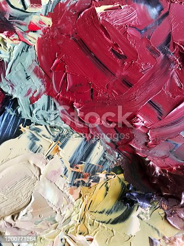 504223972 istock photo Abstract oil painting on pallet 1200771264