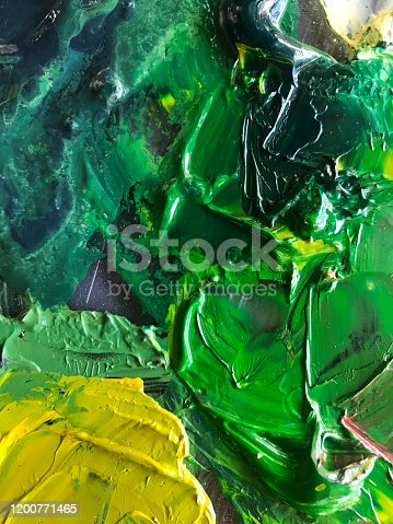 504223972 istock photo Abstract oil painting on pallet 1200771465