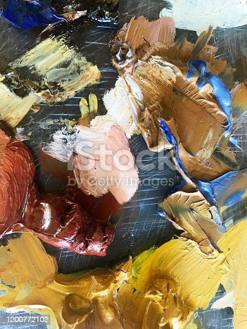 504223972 istock photo Abstract oil painting on pallet 1200772102
