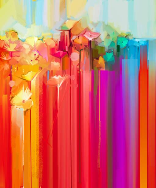 abstraktes ölgemälde frühlingsblume - fingerfarben stock-fotos und bilder