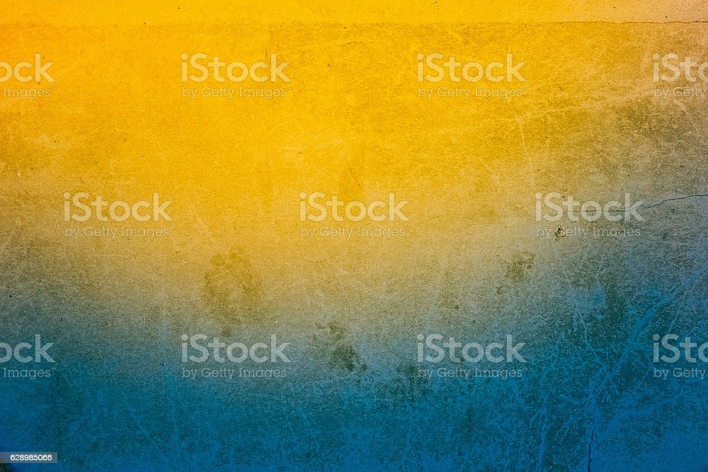Abstract Old Blue And Yellow Color Paper Vintage Background Texture stock photo