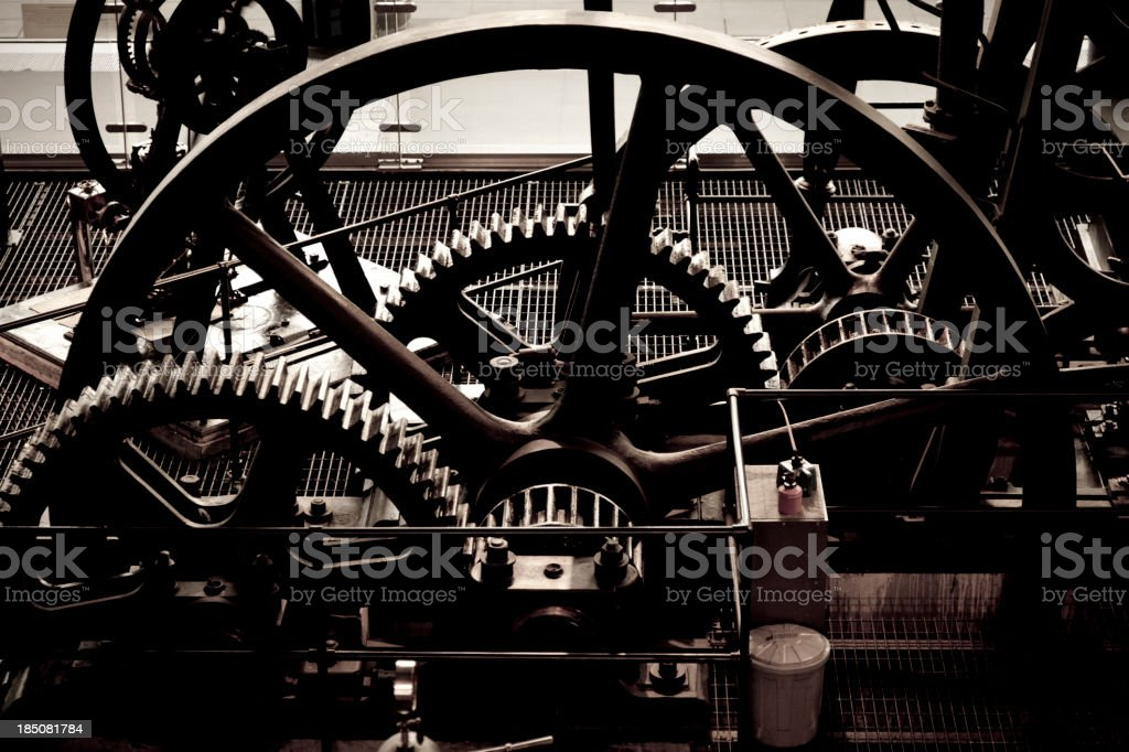 Abstract old steam machinery from above stock photo