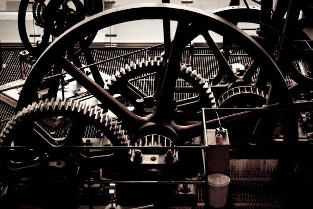 abstract old steam machinery from above - industrial revolution stock pictures, royalty-free photos & images