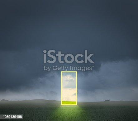 Abstract open door on field
