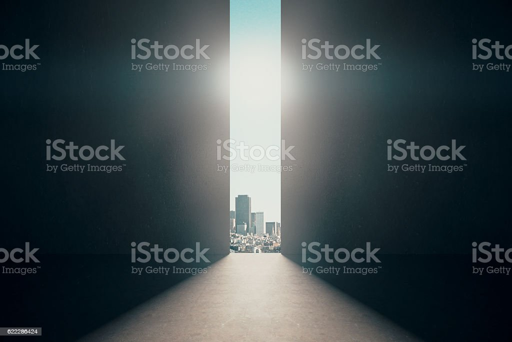 Abstract opening in wall stock photo