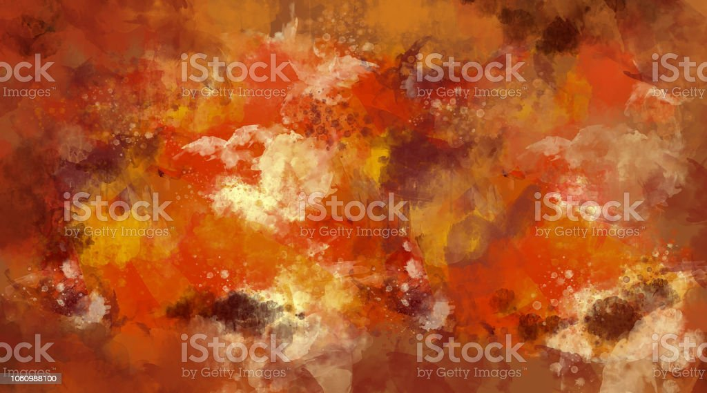 Abstract orange and brown watercolor background. Bright multi colored spots. stock photo