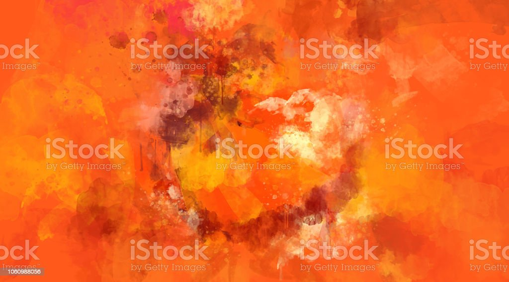 Abstract orange and red watercolor background. Bright multi colored spots. stock photo