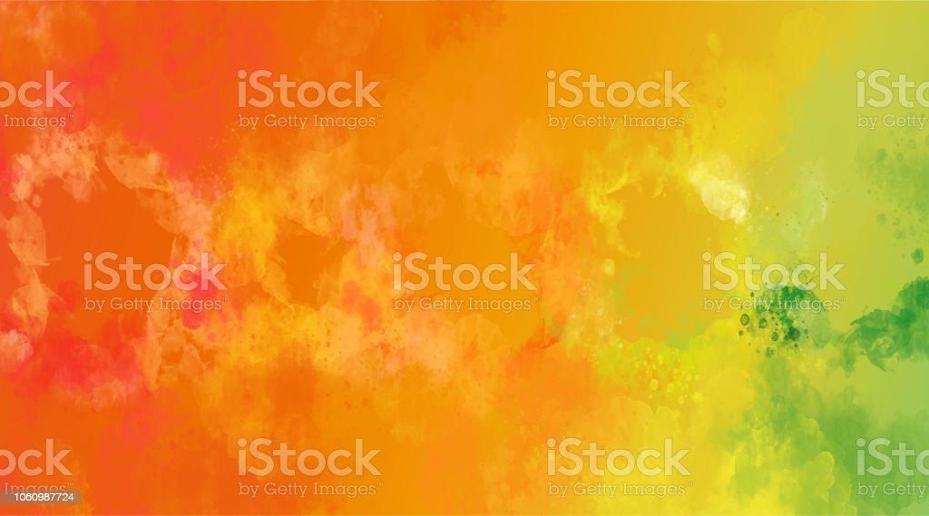 Abstract orange and yellow watercolor background. Bright multi colored spots. stock photo