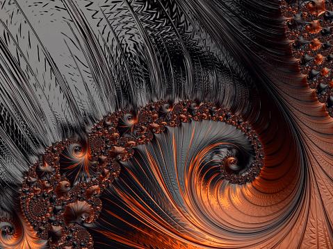 Abstract Orange Black Background Halloween Autumn Pattern Fibonacci Spiral Copy Space — стоковые фотографии и другие картинки Абстрактный