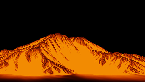 stylized golden mountain range panorama
