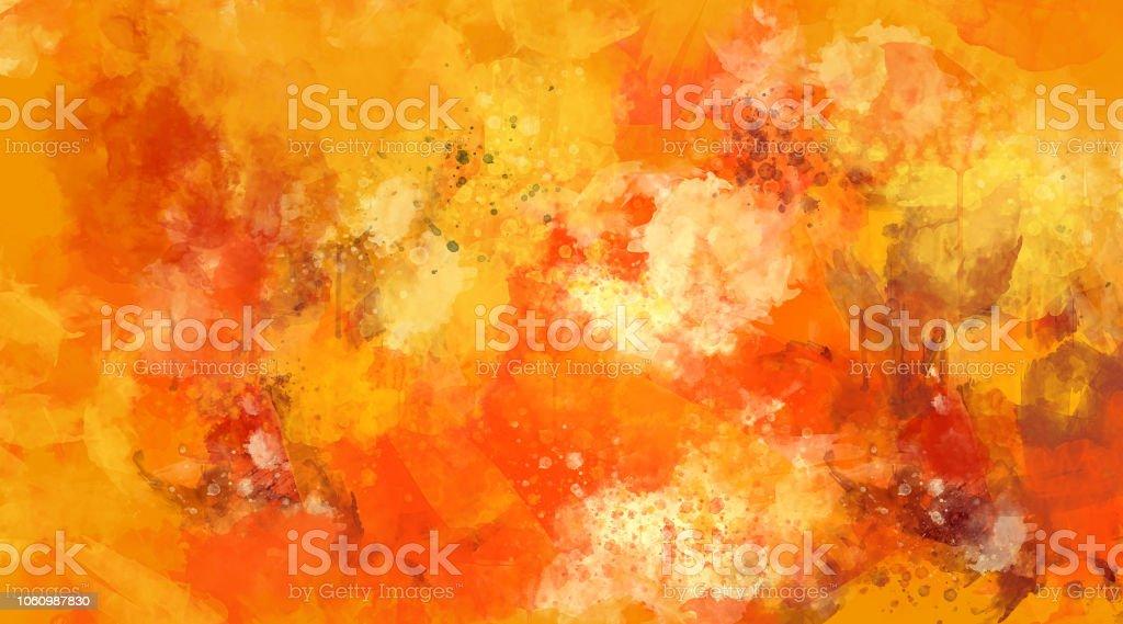 Abstract orange watercolor background. Bright multi colored spots. stock photo
