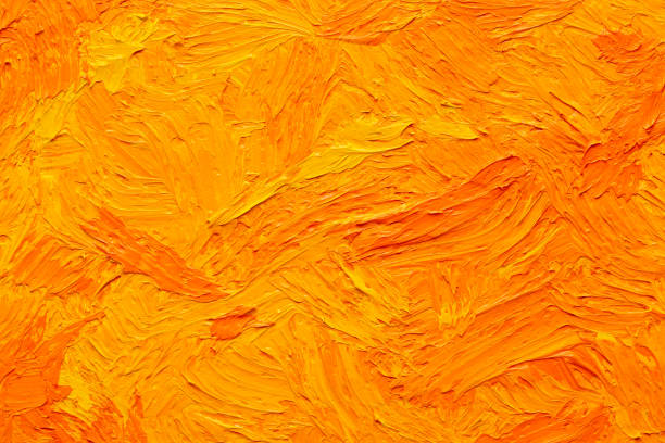 abstract orange-yellow oil tempera painting background - tempera painting stock pictures, royalty-free photos & images