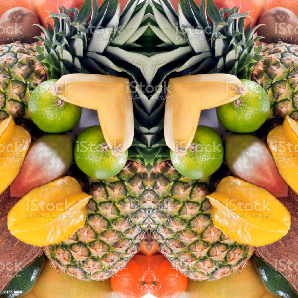 Abstract ornamental pattern from tropical fruits stock photo