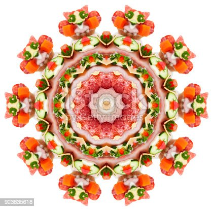 Abstract ornamental pattern as a symmetrical background on white. The group of open faced sandwiches were source of this image montage.