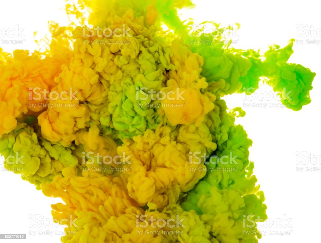 Abstract Paint Background Color Of Green And Yellow Ink Splash In ...