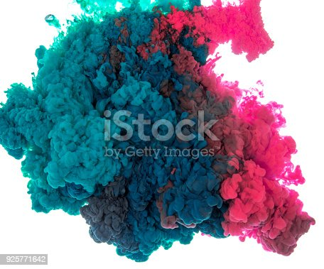 istock Abstract paint background multi color ink splash in the water isolated on white background 925771642