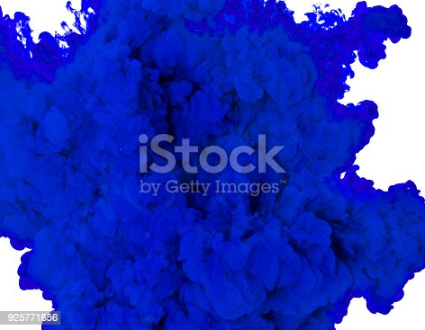 istock Abstract paint background multi color ink splash in the water isolated on white background 925771656