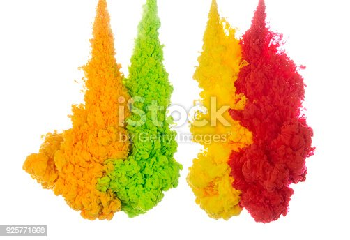 istock Abstract paint background multi color ink splash in the water isolated on white background 925771668