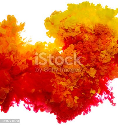 istock Abstract paint background multi color ink splash in the water isolated on white background 925771670