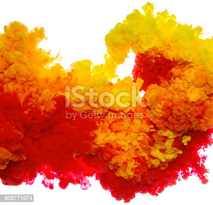 istock Abstract paint background multi color ink splash in the water isolated on white background 925771674