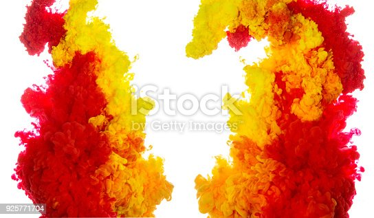 istock Abstract paint background multi color ink splash in the water isolated on white background 925771704