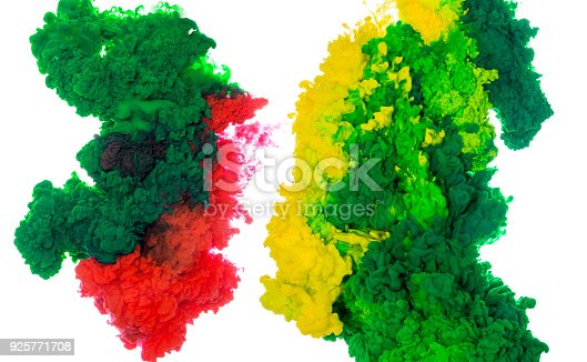 istock Abstract paint background multi color ink splash in the water isolated on white background 925771708