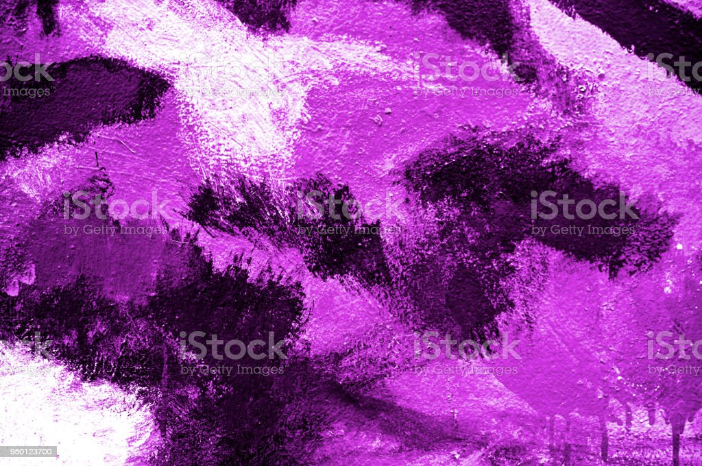 Abstract paint brush strokes purple neon or magenta on wall background with kid. Acrylic hand painted. Fashion, beauty, sexy, erotic mood. Close up. stock photo