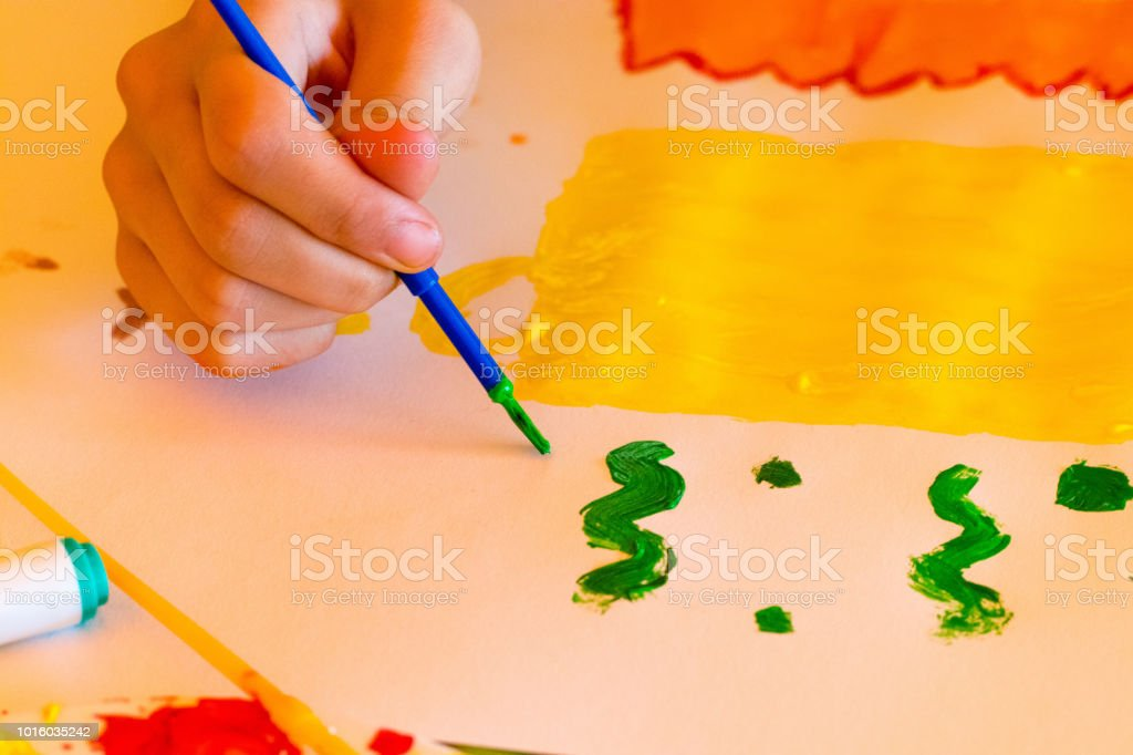 abstract  paint brush strokes watercolor background on white paper,children's drawing