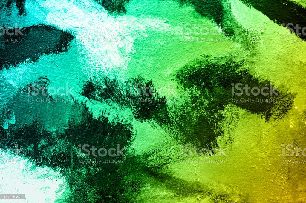 Abstract paint colorful brush on wall background. Acrylic hand painted with gradient turquoise and green tone. Fashion and indie mood. Close up. zbiór zdjęć royalty-free