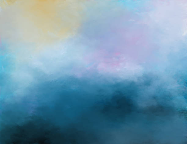 Abstract painted background of sky and clouds stock photo