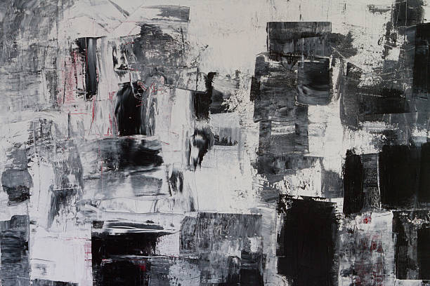 Astratto di verniciato nero bianco e grigio arte Sfondi - foto stock