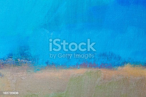istock Abstract painted blue and beige art backgrounds 163735636