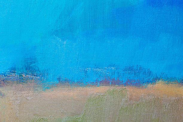 abstrakte blauen und beigen art hintergründe - ölgemälde modern stock-fotos und bilder