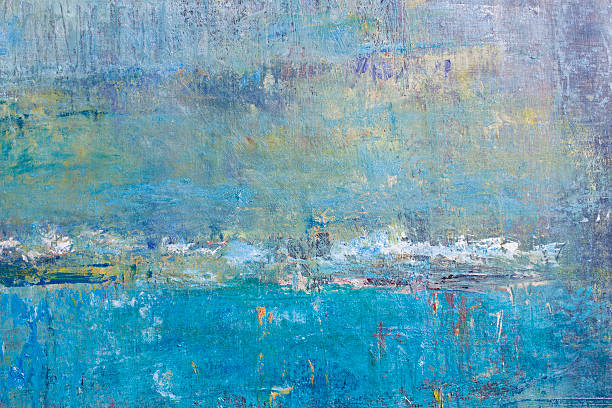 abstract painted blue and green  art backgrounds. - yağlı boya resim stok fotoğraflar ve resimler