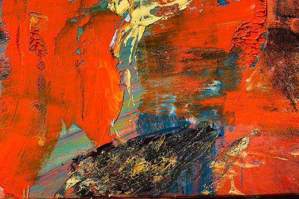 Abstract pintado lienzo.   Pinturas de aceite en una paleta.   Fondo colorido. - foto de stock