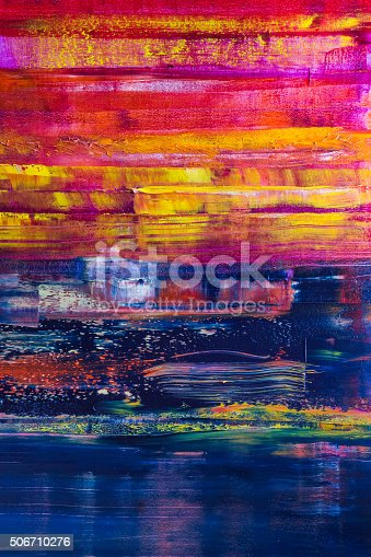 istock Abstract painted canvas. Oil paints on a palette 506710276